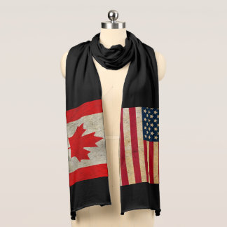 Canada Flag and USA Flag Cotton Jersey Scarf