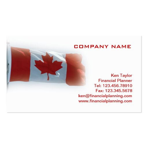 Canada flag business card red white zazzle for Business cards canada