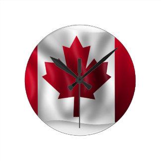 Canada Flag Canadian Country Emblem Leaf Maple Round Clock