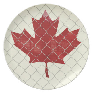 Canada Flag. Chain Link Fence. Rustic. Cool. Plate