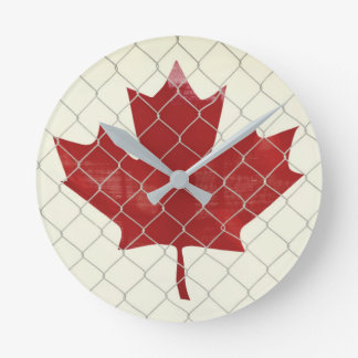 Canada Flag. Chain Link Fence. Rustic. Cool. Round Clock