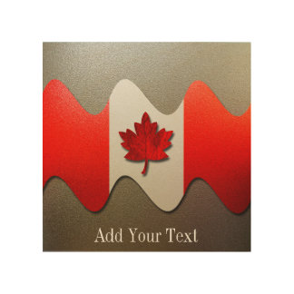 Canada Flag-Chrome by Shirley Taylor Wood Print