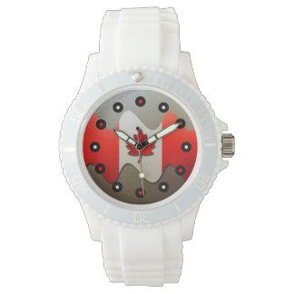 Canada Flag-Chrome by Shirley Taylor Wrist Watch