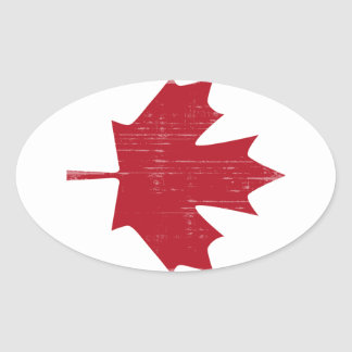 CANADA FLAG FADED OVAL STICKER