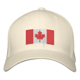 Canada Flag Hat White Embroidered Hats