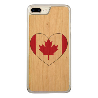 Canada Flag Heart Carved iPhone 8 Plus/7 Plus Case
