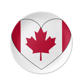 Canada Flag Heart Plate