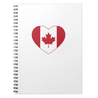Canada Flag Heart Spiral Notebook