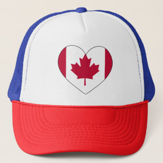 Canada Flag Heart Trucker Hat