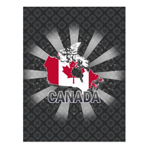 Canada Flag Map 2.0 Postcards