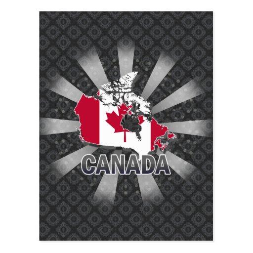 Canada Flag Map 2.0 Postcards