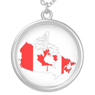 Canada flag map necklace