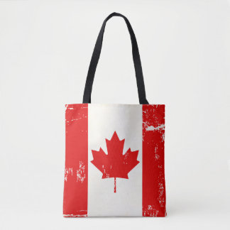 Canada Flag Maple Leaf Distressed Grunge Old Look Tote Bag