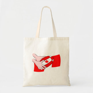 Canada Flag Maple leaf Rugby Ball Budget Tote Bag