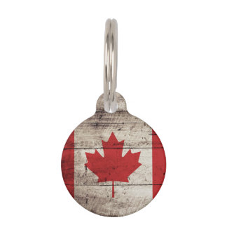 Canada Flag on Old Wood Grain Pet Name Tag
