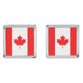 Canada flag quality silver finish cufflinks