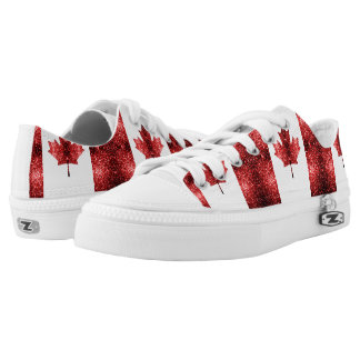 Canada flag red sparkles low tops
