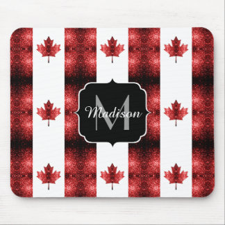Canada flag red sparkles pattern Monogram Mouse Pad
