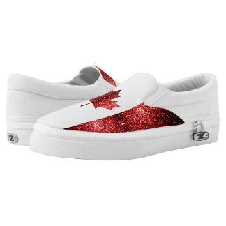 Canada flag red sparkles slip on shoes