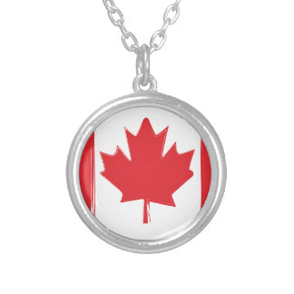 Canada flag silver plated necklace