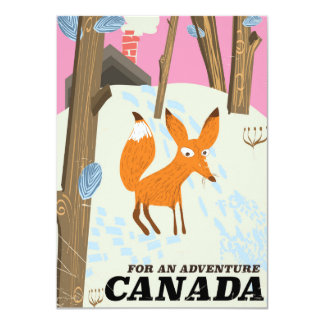 Canada Fox vintage travel poster Card
