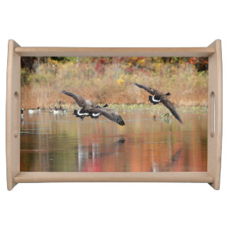 Canada Geese in Flight Serving Tray