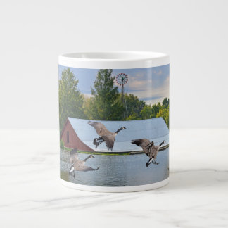 Canada Geese Landing On The Pond Large Coffee Mug
