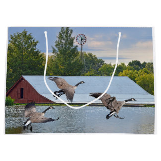 Canada Geese Landing On The Pond Large Gift Bag