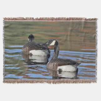 Canada geese swimming throw blanket
