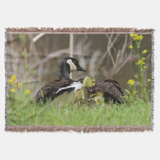 Canada Goose and family Throw Blanket