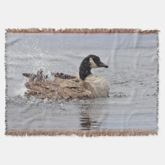 Canada goose bathing throw blanket