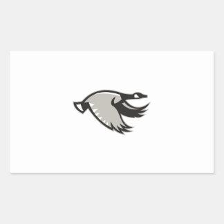 Canada Goose Flying Retro Rectangular Sticker