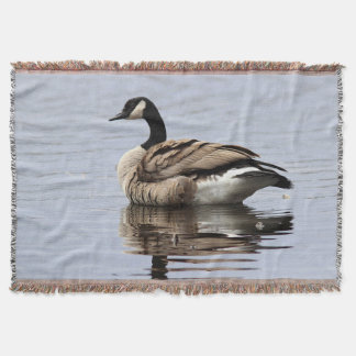 Canada goose swimming throw blanket