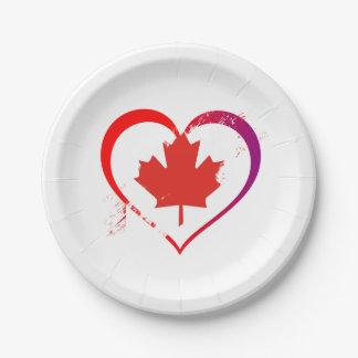 Canada heart paper plate