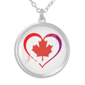 Canada heart silver plated necklace