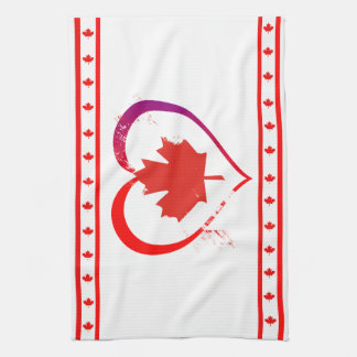 Canada heart tea towel