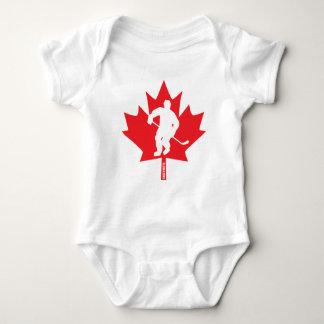 Canada Hockey Baby Maple Leaf Player Baby Bodysuit