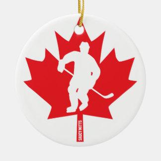 Canada Hockey Maple Leaf Player Ceramic Ornament