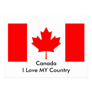Canada I Love MY Country Flag CA Template Postcard