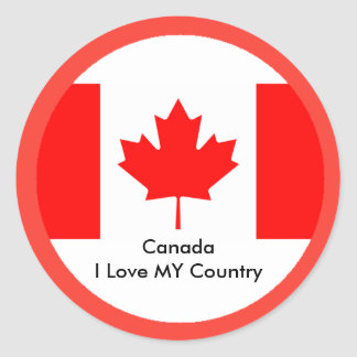 Canada I Love MY Country Flag CA Template Stickers