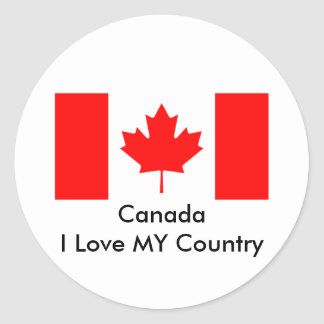 Canada I Love MY Country Flag CA Template Round Sticker