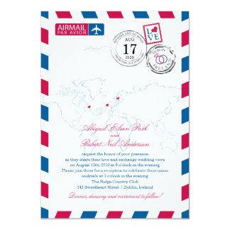 Canada Ireland Sweden Airmail Heart Wedding Card