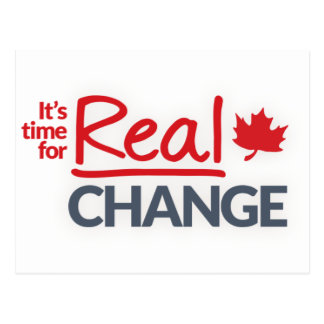 Canada Liberal Party - It's Time for Real Change Postcard