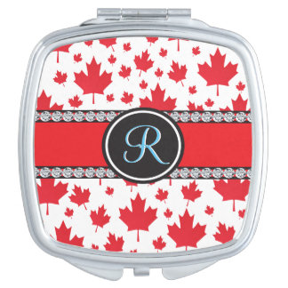 Canada Maple Leaf Abstract Diamond Monogram Makeup Mirror