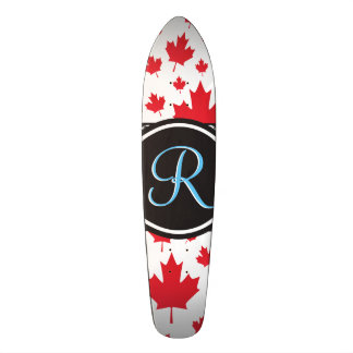 Canada Maple Leaf Abstract Diamond Monogram Skateboard Deck