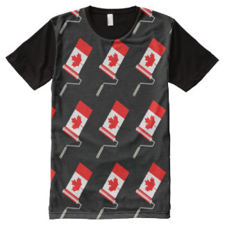 Canada Maple Leaf Flag Paint Roller All-Over Print T-Shirt