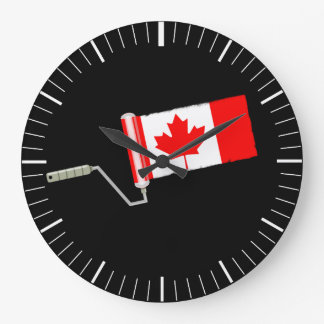 Canada Maple Leaf Flag Paint Roller Clock