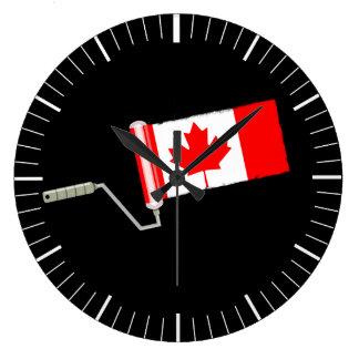 Canada Maple Leaf Flag Paint Roller Large Clock