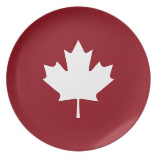 Canada Maple Leaf Melamine Plate - Reverse Colors