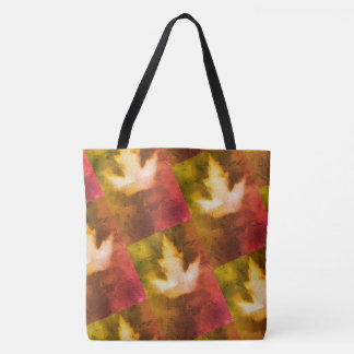 Canada Maple Leaf Pattern Red Green Gold Tote Bag